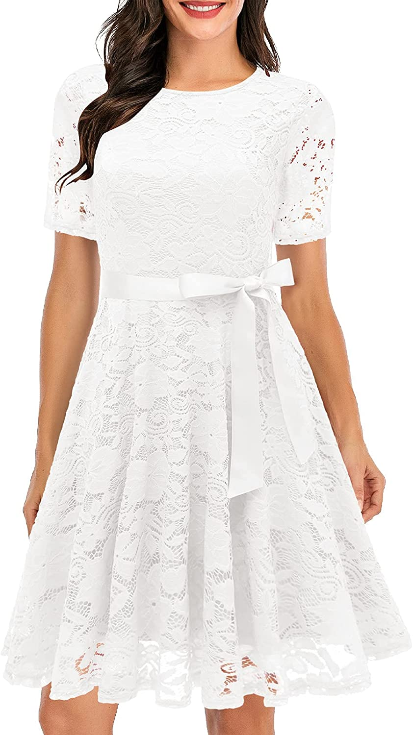 Women Lace Dress Prom Bridesmaid Dress Swing A-Line Cocktail Party Dresses
