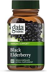 Gaia Herbs, Black Elderberry, Organic Sambucus Elderberry Extract for Daily Immune and Antioxidant Support, Vegan Powder Capsules, 60 Count