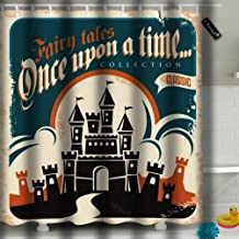 YILINGER Bath Decorations Bathroom Decor Sets with 12 Hooks Vintage Fairy Tales Poster Design Retro Castle Polyester Fabric 72