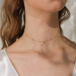 Necklace Jewelry Asymmetric Snowflake Decorative Necklace Drop-shaped Pendant Neck Ornament Chain Necklace For Women Girls...