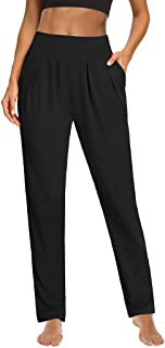 Sarin Mathews Womens Yoga Pants Pleated Wide Leg Loose Comfy Lounge Pants Workout Sweatpants for Women with Pockets