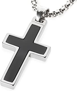 Unique GESTALT Onyx Inlay Tungsten Cross Pendant. 4mm Wide Surgical Stainless Steel Box Chain.