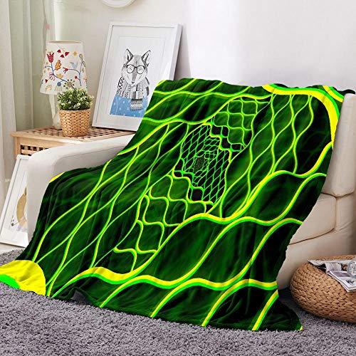UTBDWOSX® Kuscheldecke Flanell Fleecedecke, 3D Grünes Abstraktes Muster 150 X 200 cm Flauschige Weich Und Warm Microfaser Leichte Plüsch Wohndecke Sofadecke/Tagesdecke Für Sofa Und Bett