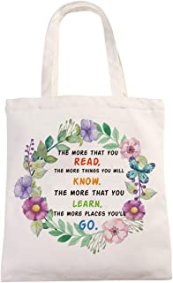 Chillake Inspirational Dr Seuss Quote Natural Cotton Canvas 12 Oz Reusable Hand Made Tote Bag - Cute Dr Seuss Theme Tote B...