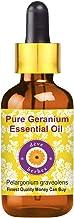 Deve Herbes Pure Geranium Essential Oil (Pelargonium Graveolens) 100% Natural Therapeutic Grade Steam Distilled for Person...
