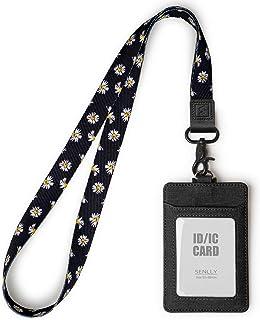 SENLLY ID Cadeau Porte-badge avec Jolie Sangle de Cou, 2 Fentes pour Cartes et 1 Fenêtre D'identification Claire, Card Hol...