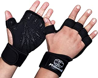 MSSOHKAN Exercise Gloves for Men & Women. Gym Gloves Fitness Gloves with Full Palm Silicone Padding and Extended Wrist Wraps.Workout Gloves for Weightlifting、Pull-up、Cross Training.(Pair)