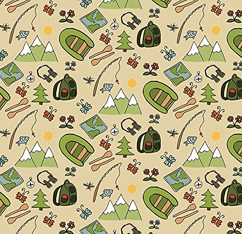 Camping Party Birthday Gift Wrap Paper - Folded Flat 30 x 20 Inch - 3 Sheets
