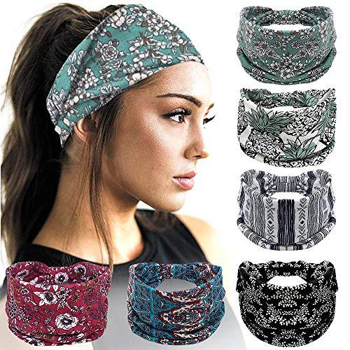 Headbands For Women, 6 PCS Wide Boho Headbands Elastic Bandana Non Slip Sweat Fashion Large Headwraps Hair Bands Headwear fit All Head Sizes for Workout, Sports, Running, Yoga