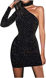 KAIXLIONLY Womens Pencil Dress Lady One-Shoulder Sleeve Mock Neck Sexy Slim Evening Gown Party Mini Dress