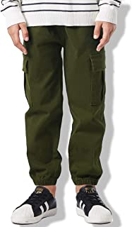 Boys' Cotton Cargo Pants Comfort Fit Multi Pockets Trousers for Kids 4-16