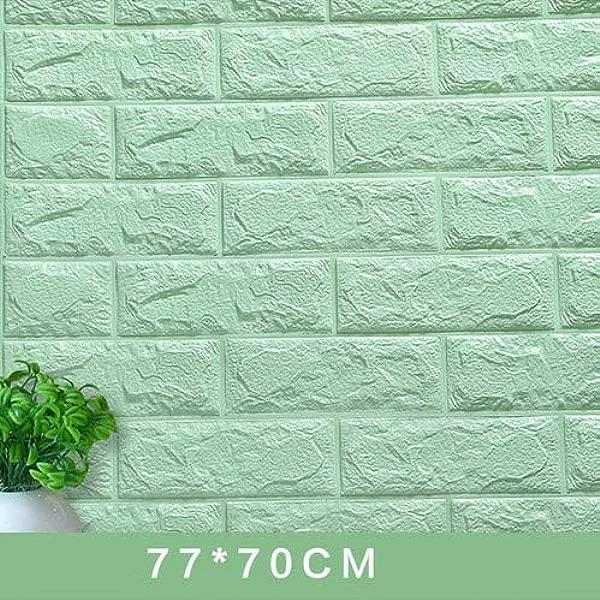 SIZ70KL 3D Wall Stickers Decorate Self Adhesive For Kids Room Bedroom Decor Foam Brick Room Decor Wallpaper Wall Sticker Grass Green 70X7 5CM