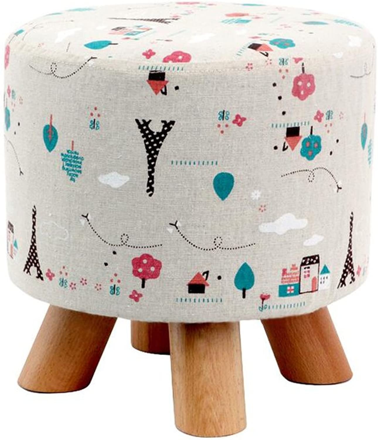 YCS shoes Stool Sofa Stool Low Stool Wood Cloth Surface Round Home Living Room (color   2)