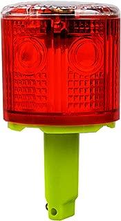Aolyty Solar Strobe Warning Light 360 Degree Single Column Super Bright Waterproof IP48 for Construction Traffic Dock Marine Wireless Light Control Flashing (Red)
