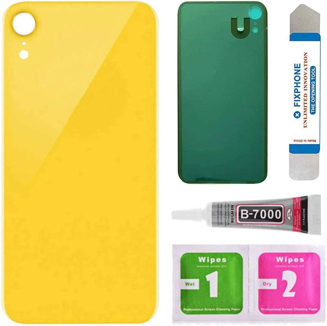 Afeax Back Glass Cover Replacement for iPhone XR 6.1 Inches All Carriers with Pre-Installed Adhesive and Repair Tool Kits (Yellow)