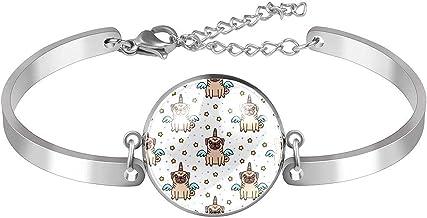 Verstelbare armband unieke Pug Eenhoorn Hond voor vrouwen Roestvrij staal