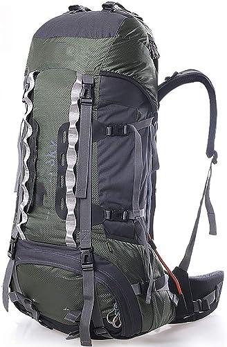 AY-MBJDFX Sac à Dos De Randonnée en Plein Air, Capacité De 65L + 10L, Multifonction Imperméable Voyage Camping Sac D'ordinateur Portable (Couleur   vert)