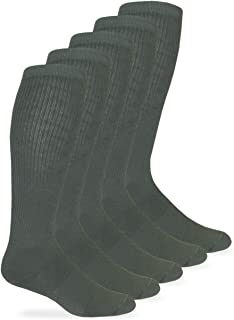 Mens Military Half Cushion Wool Combat over the Calf Boot Socks 6 Pair Pack