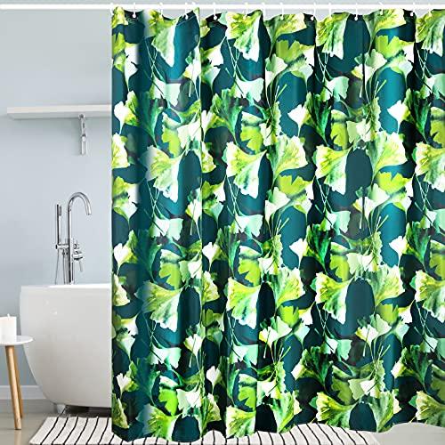 Tongtong Wasserdichter Duschvorhang Polyester Duschvorhangs,Anti-Schimmel Waschbar Badezimmer Vorhang mit 12 Duschvorhangringen Duschvorhang Ginkgo Biloba 200x200cm