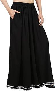 Pantalone molto largo color nero Rayon, pantaloni palazzo divisori, harem, gonna comoda