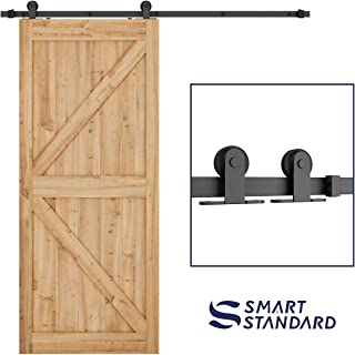 SMARTSTANDARD 6.6 FT Top Mount Sliding Barn Door Hardware Kit - Super Smoothly and Quietly - Simple and Easy to Install - Includes Step-by-Step Instruction -Fit 36