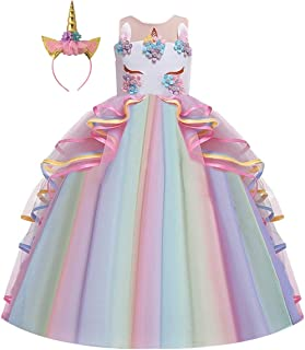 HIHCBF Girls Unicorn Costume Pageant Princess Party Dress Wedding Birthday Halloween Carnival Long Maxi Gown w/Headband