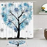ShopHM Juegos de Cortinas de baño con alfombras Antideslizantes, Corazón Árbol Pareja Amor Copos de Nieve,con 12 Ganchos