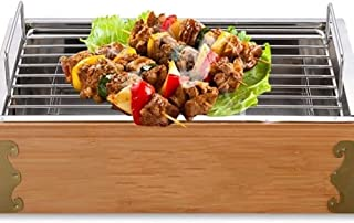 BBQ Stove Rectangle Wooden/Bamboo Frame Stainless Steel Carbon Box Split Type Charcoal Grill Traditional Style Heater Outd...