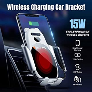 TRU-VIC Fast Wireless Car Charger, 15W QI Enabled Mobile Devices Charging Auto-Clamping Sensor Dashboard Mount Stand & Air Vent Clamp for iPhone and Android Phones