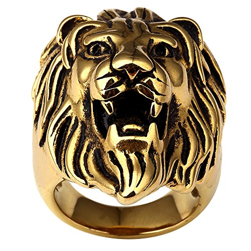 JAJAFOOK Men's Stainless Steel 18K Gold Plated Hip Hop Ring 3D Lion King Head Rings, Size 12