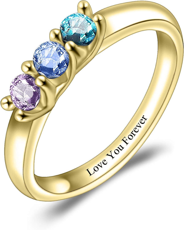 Personalized S925 5☆好評 Birthstone Ring 新作入荷 3 Birthstones Customized with