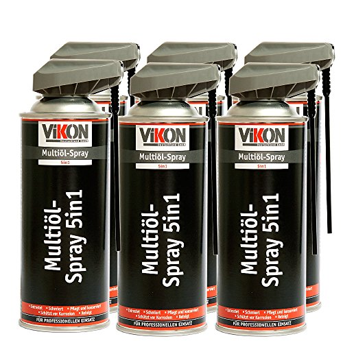 6 Dosen VIKON Multiöl 5in1 Spray 400 ml mit Spezial-Sprühkopf - Schmiermittel, Rostlöser, Kontaktspray, Korrosionsschutz & Reiniger in einem Produkt
