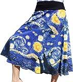RaanPahMuang Brand Vincent Van Gogh The Starry Night 3/4 Length Patch Skirt, Small Navy
