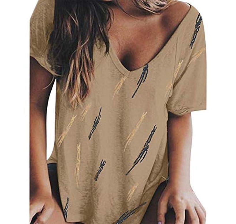Cewtolkar Womens Tops Summer Short Sleeve V-Neck T-Shirt Casual Print Blouse Loose Party Beach Tee Blouse