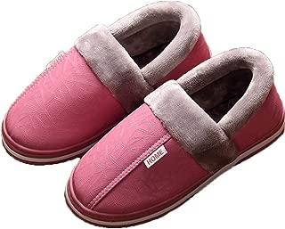 Men's Slippers Winter Slippers Non Slip Indoor Shoes for Women Men Leather House Shoe Waterproof Warm Memory Foam Slipper