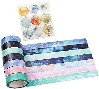 Washi Tape Set of 7 Rolls - Natural Galaxy Water Color Aurora Decorative DIY Japanese Masking Adhesive Sticky Paper Washi Tape Set (Width: 15mm)