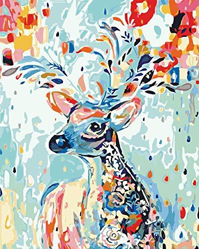Suntown Malen nach Zahlen 40 x 50cm DIY Leinwand Gemälde für Erwachsene und Kinder mit 3 Bürsten und Acrylfarben - Regenbogen Hirsch (Nur Leinwand)