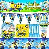 Minion Set de Fiesta de Cumpleaños- Miotlsy 37 Piezas Minion Tema Party Supplies Decoraciones de Vajilla Suministros Fiestas de Party Cumpleaños Vajilla Sirve para 6 Invitados