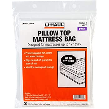"""U-Haul Pillow Top Twin Mattress Bag – Moving & Storage Cover for Mattress or Box Spring – 94"""" x 39"""" x 17"""""""