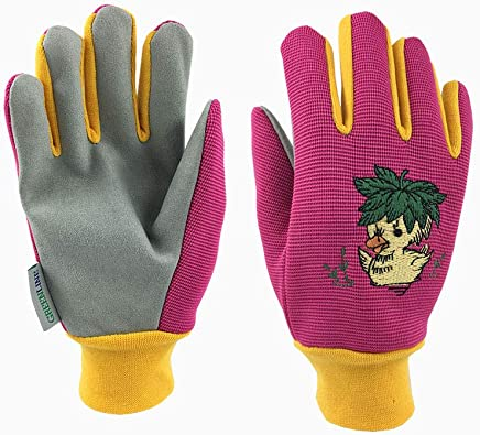 *CHILDREN KIDS EDITION* GREENLINE - Colored Stretch Polyester & Micro Fiber Synthetic Leather Palm Garden Gloves gardening gloves working gloves With Funny Ducking Embroidery On Back (Pink/ Light Khaki)