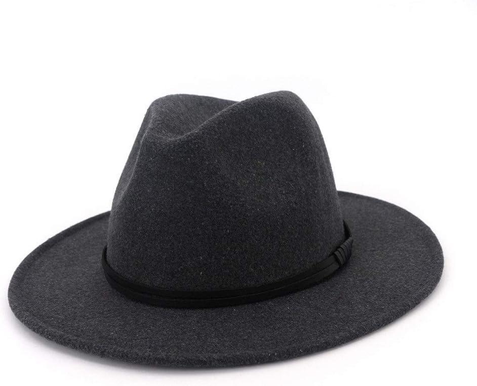 no-branded Autumn Winter Wide Brim Jazz Cotton Ladies Gentleman Fedora Hat Black Hat Floppy Jazz Knight Hat ZRZZUS (Color : Dark Gray, Size : 59-60cm)