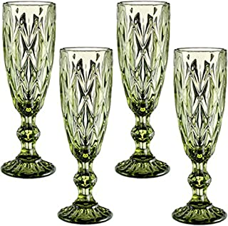 Champagne Flutes Set of 4 for Wedding Party Anniversary Christmas Birthday 5oz Vintage Pattern Embossed Champagne Glass 15...