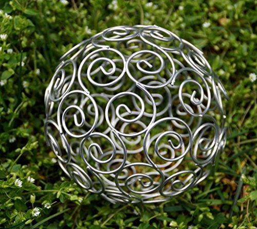 "Dekokugel Gartenkugel ""Spirale"" Kugel silber Durchmesser 16 cm Spiralblume filigran"