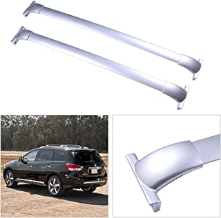cciyu 2Pcs Universal Silver Aluminum Roof Rack Cross Bar Car Top Luggage Carrier Rails Fit for 2013-2017 Nissan Pathfinder Sport Utility 4-Door 3.5L(Only Fit Models with Actual Side Rails)