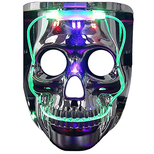 Light up Mask, DAXIN DX LED Halloween Scary Mask US Flag/Skeleton Costume for Men Women Kids,Led Clown Mask,Medium