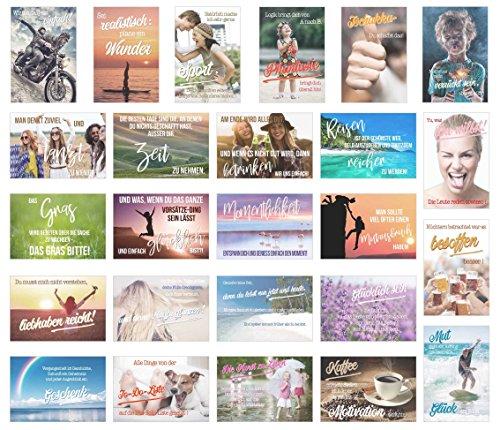 Edition Seidel Set 25 Postkarten mit Sprüchen - Karten mit Spruch - Geschenk - Geschenkidee - Sortiment - Dekoidee - Text - Verschicken und Schreiben, Freundschaft, Leben
