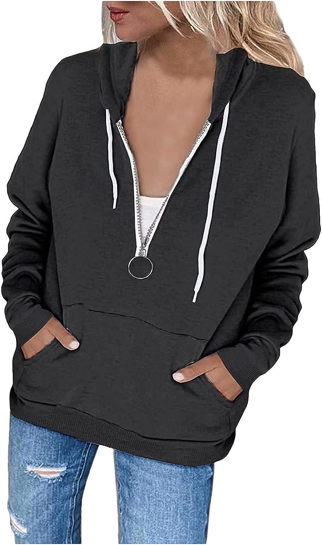 BEUU Womens Drawstring Hoodie Jacket, Long Sleeve Basic Hooded Sweatshirt Zip Up Casual Tops with Pockets for Teen Girls