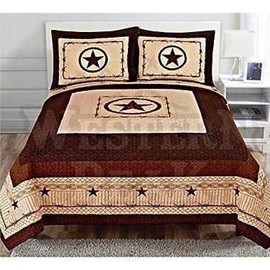 Western Peak 3 Pcs Western Texas Star Cabin Lodge Barbed Wire Luxury Quilt Bedspread Comforter Beige (Queen)