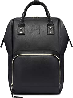 HaloVa Diaper Bag, Diaper Backpack, Mommy Baby Nappy Backpack, Women Men's Premium Leather Shoulders Backpack, Large Capacity, Black