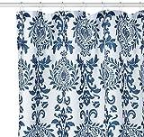iDesign Damask Duschvorhang | hochwertiger Duschvorhang mit Ösen aus Metall| Designer Duschvorhang in der Größe 180,0 cm x 200,0 cm | Polyester marineblau